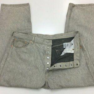 Levi's 501 Men's Button Fly Jeans 42 x 32 Gray